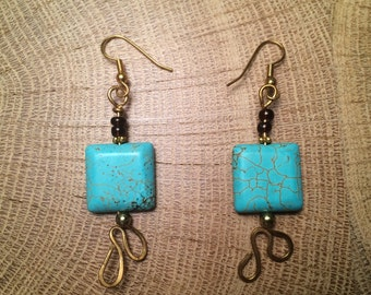 Magnesite Turquoise Stone Drop Earrings