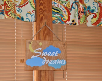 Sweet Dreams - Baby's Room Art, Nursery Decor Painting. Solid Wood, Hand Painted 1-sided sign