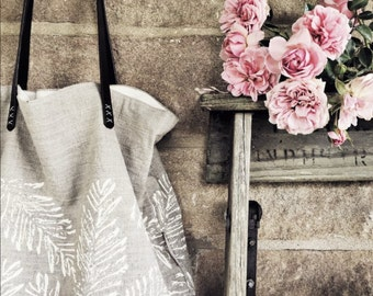 Linen tote bag - handprinted-Bracken