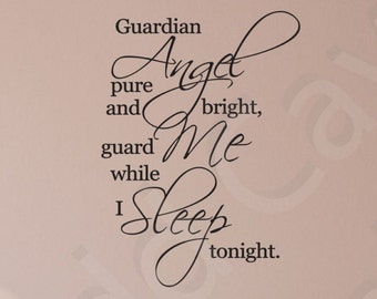 Guardian Angel Vinyl Wall Decal Quote Scripture