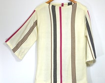 Vintage 60s Neapolitan Sweater Tunic   1960s Mod Mid Century Twiggy Sweater Dress   Bell Sleeve Pink Brown Striped Knit Sweater   Small