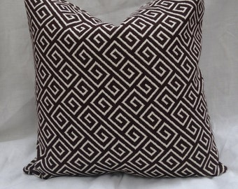 Chocolate Brown Greek Key Throw Pillow Cover