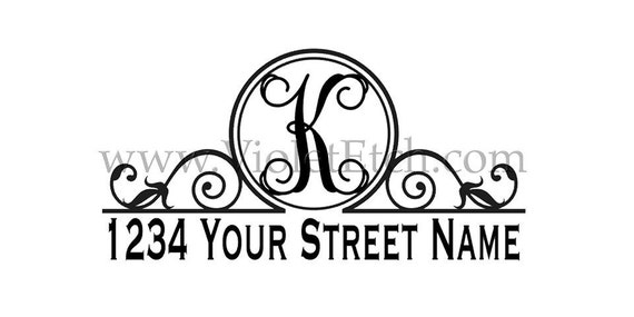 Mailbox Decal-Address Decal-Vine Initial Mailbox Decal-Vine Initial