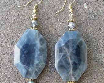 Grey Octagon Earrings