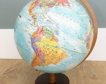 Colorful vintage mid century modern Globemaster globe simple modern wood base