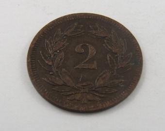 Switzerland 1850 A 2 Rappen Coin.