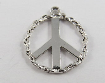 The Peace Sign Used in the 60's Sterling Silver Pendant or Charm.