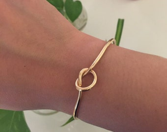 Gold Knot Tie Bangle, Knot Bracelet, Bridesmaid Gift