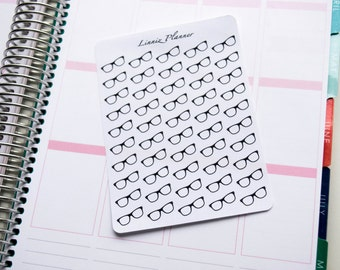 Glasses Black or Color (Matte planner stickers, perfect for planners)