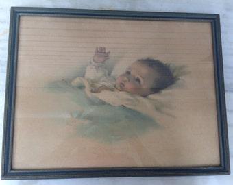 "vintage Bessie Pease Gutman ""Awakenings"" framed print, 14"" x 19"", antique print, newborn nursery"