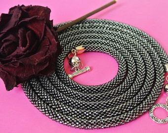 Grey Beaded Lariat Necklace Crochet Jewelry, Shine beaded crochet necklace, Transformer lariat, Long Lariat Rope, Elegant Jewelry, beadwork