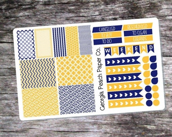 Yellow and Navy Planner Stickers - Made to fit Vertical Layout