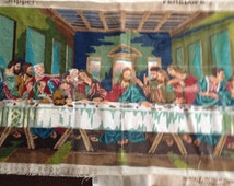 "Vintage Anchor Coats  stencilled Penelope Tapestry Canvas & Wool the "" Last Supper""  S355 Made in England unfinished project"
