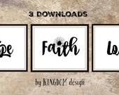 Faith hope love, wall decor, Printable, art sign, Black and white 8x10  Christian art Bible scripture print, digital print