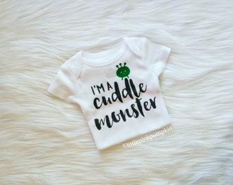 Baby Boy Clothes, Cuddle Monster Bodysuit, Cuddle Monster Shirt, Coming Home Outfit, Baby Shower Gift, Hipster Clothes, Hospital Outfit
