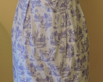 Toile de Jouy skirt, Pleated skirt, Cotton skirt, Toile blue, Toile print skirt, Lolita style, Elegant skirt, Casual lolita, Blue Skirt