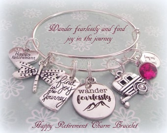 Happy Retirement Gift, Gift for Retiree, Birthstone Bracelet, Personalized Gift Retiree, Personalized Jewelry, Silver Bracelet, Retirement