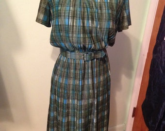 Late 40's blue and green plaid pleated swing dress