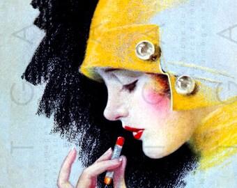 GORGEOUS FLAPPER Paints Her Lips. Art DECO Illustration. Vintage Magazine Deco Art. Digital Flapper Download. Flapper Print.