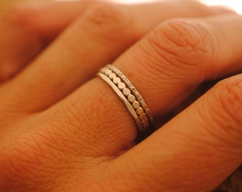 Set of 3 Stacker Rings   Sterling Silver