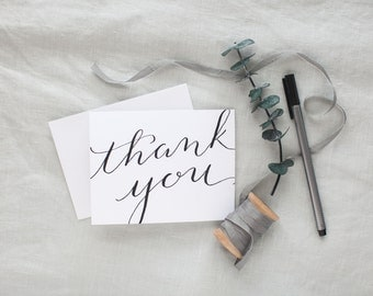 Thank You Cards - Pack of 6 | Size A2 | Modern Calligraphy