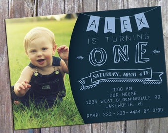 1st Birthday Invitation with Picture Baby Blue Photo Banner Printable 5x7