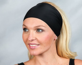Black Headband Running Headband Extra Wide Workout Headband Fitness Headband Boho Headband Fashion Headband Women Head Wrap Turban Headband