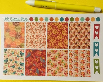 Colorful Fall Full Boxes Functional Set of Planner Stickers