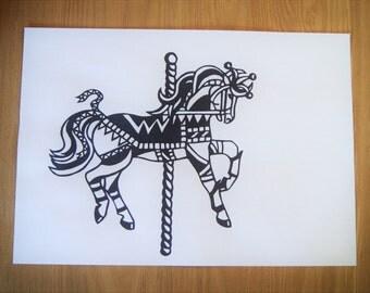 Papercut Template - Carousel Horse (Jester)