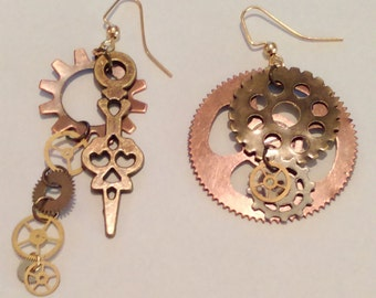 Bronze & Copper Clock hand and Gears Earrings