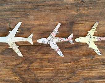 Vintage Map Airplanes