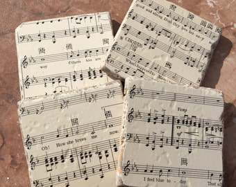 Vintage Orchestra Sheet Music Stone Tiles