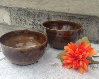 Brown Stoneware Ceramic Bowls- Set of Two