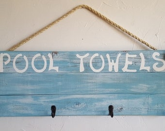 Rustic, handmade POOL TOWELS wall hanging