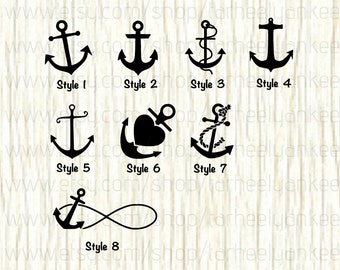 Anchor Decal, Anchor Car Decal, Ship Anchor Decal, Nautical Decal, Ocean Decal, Anchor Heart Decal, Anchor Rope Decal, Ship Decal, Boat