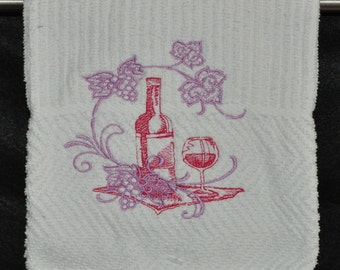 "Embroidered Dish Towel ""Grapes & Wine Echo"""