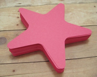 Cardstock Star Cutouts-Pink Star Cutouts-Scrapbooking Cutouts-Star Embellishments- Paper Cutouts-Party Decor-Starfish Shapes-Pink Stars