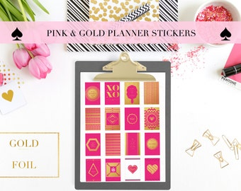 Gold Foil & Pink Printable Planner Stickers/ Journalling Cards/ Paper craft Supplies / Mambi Happy Planner / Erin Condren /