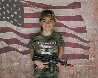 Soldier not Princess Kids Tshirt, Army Brat, Military Child, Veteran,