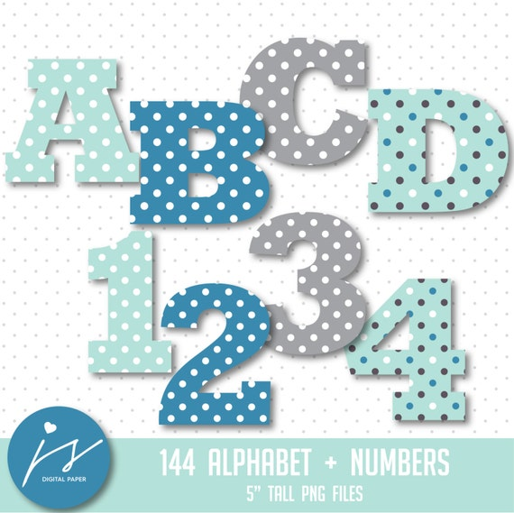 Gray Alphabet Font: Blue Turquoise Grey Alphabet Clipart Letter Clipart Digital