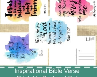 Printable Inspirational Bible Verse Postcards - PDF - Watercolor Splash - Print Your Own