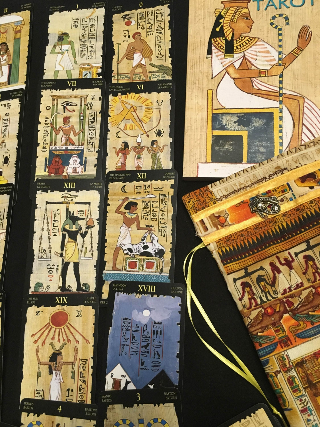 Egyptian Tarot Kit Deck Book Loscar: Egyptian Tarot With Bag