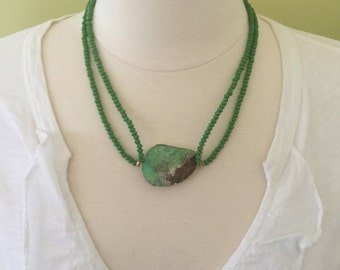 "Handmade  Double Strand Choker Necklace of Faceted Green Glass beads and Organic Shaped Green Pendent, 20""L"