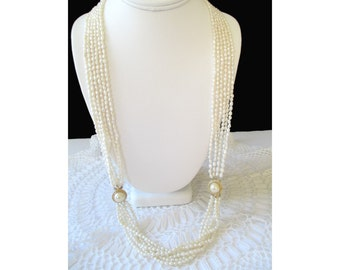 Seed Pearl Necklace * Six Strand * Faux Pearl Clasp * Long