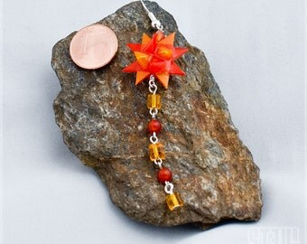 "Earrings ""Cubes Comet"" - orange - yellow star and the small cubes Orange and yellow"