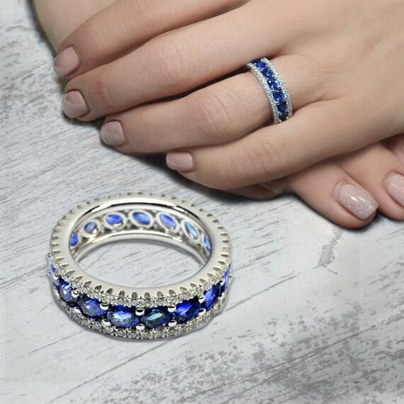Sapphire Engagement Ring Halo Sapphire Ring by CariniGioielli