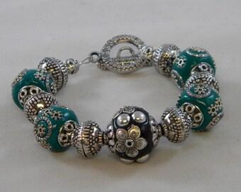 OOAK Black and Green Embellished Beaded Bracelet