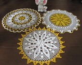 Yellow and White Crochet Lace Doily, Set of 3 Accessories, 100 % cotton, Modern Home Decoration
