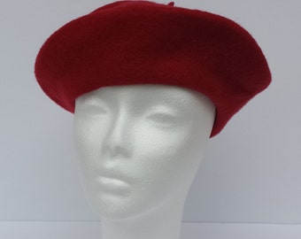 Vintage Red Wool Beret Stylish but Motheaten