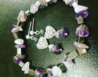 Set bracelet + earrings Amethyst